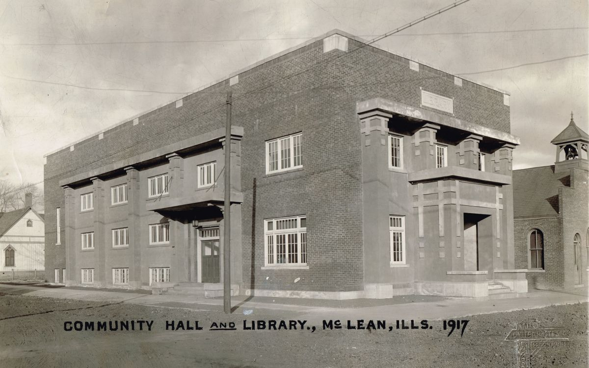 Mt. Hope Township Community Hall and Library, 1917, just after its completion. The hall was used as the McLean High School gym and auditorium until 1950 and is still used for events today. Courtesy of the McLean County Museum of History.