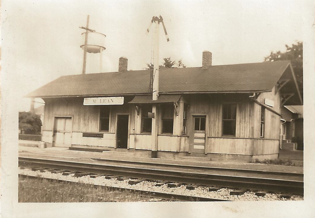 McLean Depot, 1937. William Hilligoss would have been the McLean station agent at this time; he served from 1914 until his retirement in 1970 and was well known and liked by the townspeople.