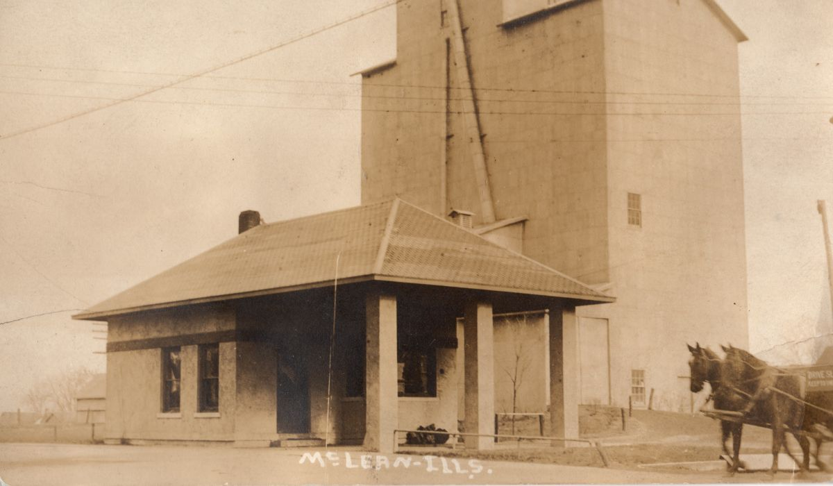 C. C. Aldrich & Son grain elevator, circa 1916. This was built in the same location as the C. C. Aldrich Elevator and Mt. Hope Mills (SE corner of village square) after they were destroyed by fire in 1915. The mill facilities were not rebuilt.