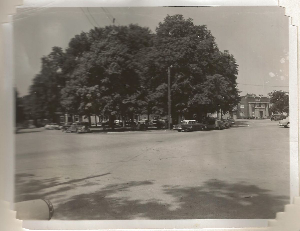 Village Square Park, circa 1955, looking northeast. Partially visible is the bank building (left), which was at this time the post office, with Shorty's Barber Shop and the VanNess Beauty Shop in the basement. Next door was Taylor's IGA & hardware store.