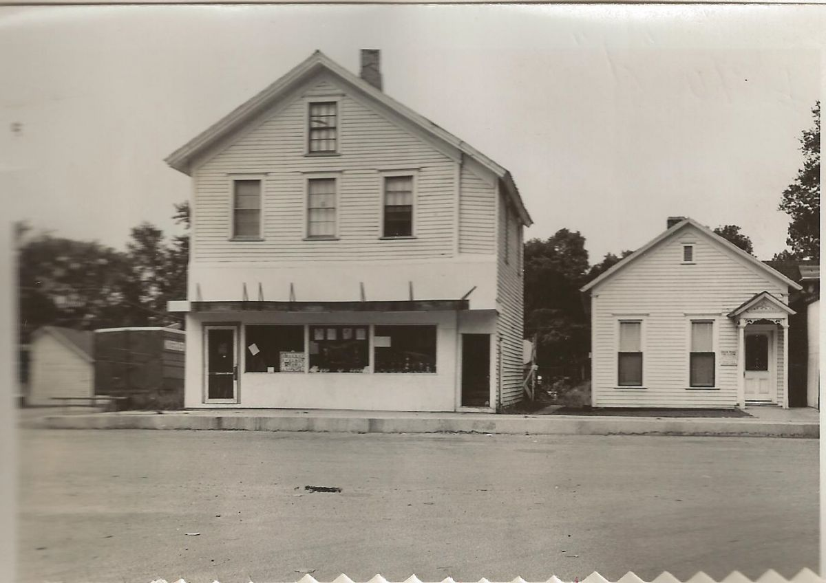 Village Square, Hamilton St., 1955. Building on left was the location of Taylor's grocery store 1939–1953 (current location of the McLean Village Office); office of physician and surgeon Dr. Thomas Smith on right (current location of McLean Post Office).