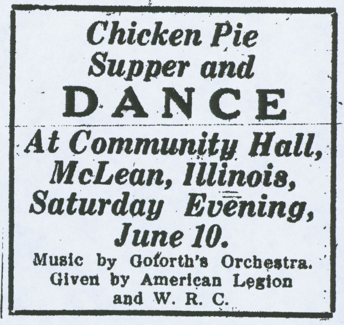 "Bloomington Pantagraph ad from 1922 for an event at the Community Hall, which the newspaper noted to be ""intended for use by any society, club or group of people for any purpose of community benefit."" Courtesy of the McLean County Museum of History."