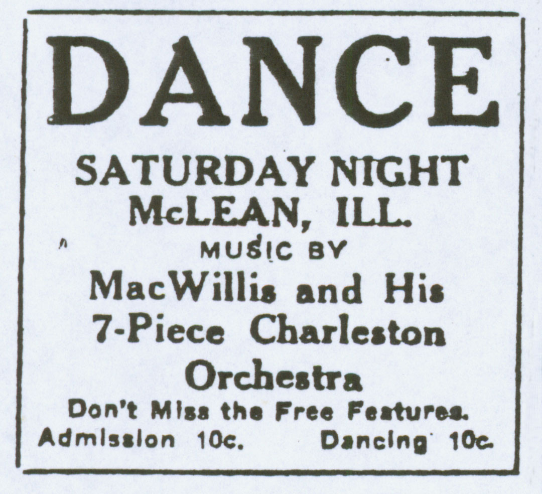 Bloomington Pantagraph ad, 1926. Dances, movie showings, and other events were held in the gymnasium/auditorium, which still boasts its stage and balcony, as well as the downstairs kitchen/dining hall. Courtesy of the McLean County Museum of History.